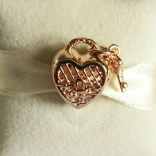 Genuine Rose Gold PANDORA Love You Lock Heart Charm 787655 ALER
