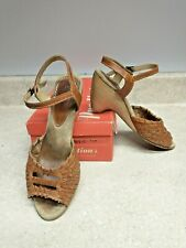Vintage 80's Predictions Womens Woven Leather Wood Heals Shoes Size 7.5