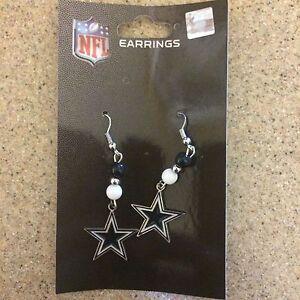Dallas Cowboys NFL Ladies Pierced Bead Dangle Earrings, New In Package