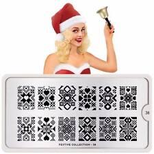 Moyou London Stamping Schablonen Plate Weihnachten Schnee Herz Festive 38