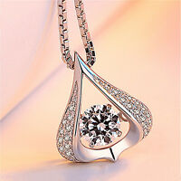 Damen 925 Silber Anhänger Zirkonia Halskette Herzkette STRASS Schmuck Kette MODE