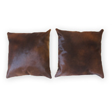 Authentic Cow Pelt Cushion Case Pure Dark Brown 16x16 in Cow Skin Pillow Cover