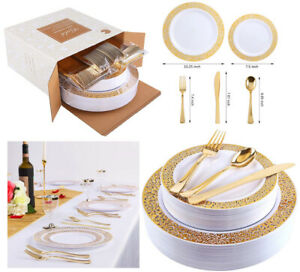 Party Supplies Gold Plastic Plates Silverware,Lace Design Disposable Cutlery New