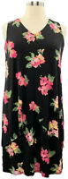 Susan Graver L Black Floral Liquid Knit Sleeveless Tiered Dress A377870