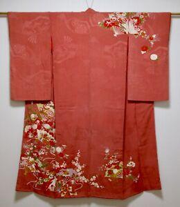 JAPANESE SILK ANTIQUE KIMONO / FAN & FLOWER / EMBROIDERY / VINTAGE SILK FABRIC