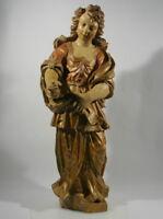 Heilige Jungfrau Skulptur Eiche Holz geschnitzt polychrom gefasst Barock 18. Jh.