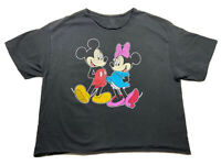 ✨⭐️DISNEY Mickey & Minnie MOUSE CROPPED TOP SS SHIRT/ BLACK /SIZE 1X PRE-OWNED⭐️