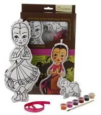 Puppe Aniya mit Elefant, Stoff zum Bemalen mit Farben, Pinsel, Stoffpuppe 30 cm