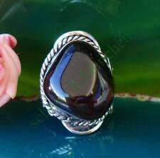 Ring Alpaka Silber Stein Achat dunkelgrau Ethno Indianer Stil 056