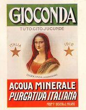 PUBBLICITA' 1924 ACQUA MINERALE GIOCONDA F.BISLERI MONNA LISA LEONARDO DA VINCI