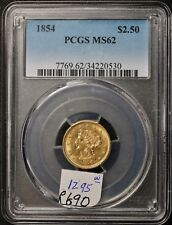 1854 Gold 2.5 Dollar.  Quarter Eagle.  In PCGS Holder.  MS 62.   e690