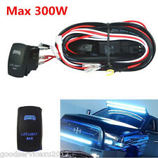 300W Blue LED Bar Autos Work Lights Wiring Harness Rocker Switch Control On-OFF