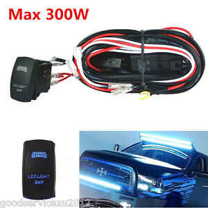 300W Blue LED Bar Car Work Light Wiring Harness Rocker Switch Control On-OFF