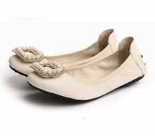 Women's Solid Leather Casual Ballet Flats & Oxfords