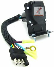 New 4 Flat to 7 Way Rv Trailer Light Plug Wire Harness Converter Adapter