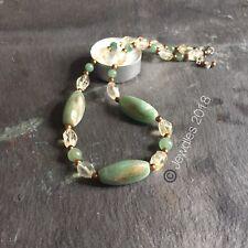 "Vintage green oval bead, Citrine, Aventurine & gold bead 17"" necklace"