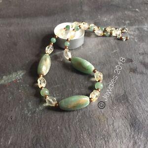 "Vintage green oval bead, Citrine, Aventurine & gold bead 17"" Prosperity Necklace"
