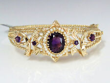 NYJEWEL 14k Solid Gold Brand New Royal Luxuary 6ct Amethyst Pearl Bracelet $6500