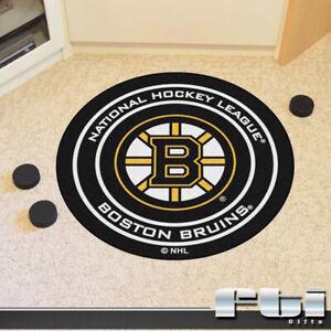 "Boston Bruins NHL Hockey Puck Shaped 27"" Round Carpet Door Floor Mat Area Rug"
