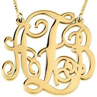 Monogram Necklace XLarge - Gold Plated 1.75″ Personalized Pendant - oNecklace ®