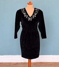 Vintage 80's Embroidered Velvet Dress Retro Boho Goth 8
