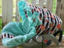 black and flowers infant car seat hood cover w/ aqua cotton infant base cover