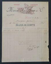 Facture 1911 IMPRIMERIE LITHO LE BEAU LORIENT entête illustrée 31
