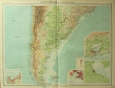 1922 LARGE ANTIQUE MAP ~ SOUTHERN SOUTH AMERICA CHILE ARGENTINA ~ MONTEVIDEO