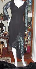 CATHERINE MALANADRINO BLACK SILK DRESS SIZE 6 SEXY OPEN FABRIC EMBROIDERY NEW