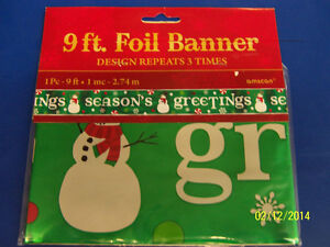 Season's Greetings Snowman Winter Christmas Holiday Party Decoration Foil Banner