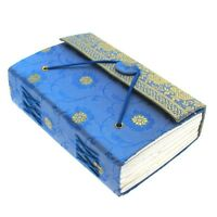 Sari Fabric Journal, Notebook, Diary, Blue, 9cm x 13cm, Unlined Recycled Paper