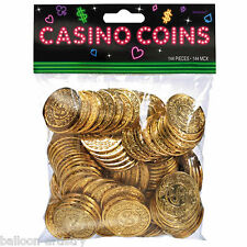 144 Place Your Bets Casino Playing Card Night Party Prop Gold Coins Decorations