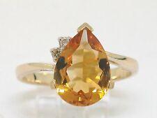 Citrin Ring 585 Gelbgold 14Kt Gold natürlicher Citrin und 2 Brillanten