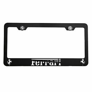Matte Black Laser Etched Ferrari Mirror License Plate Frame Cover Holder w/Cap