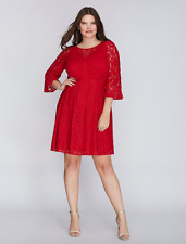 LANE BRYANT PLUS SIZE  Lace Dress Fit & Flare with Flounce Sleeves 24W RED