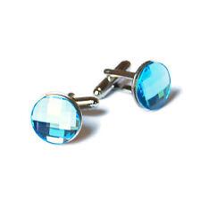Swarovski Blue Crystal Cufflinks-Handmade In NYC-Silver Tone-Men's wear