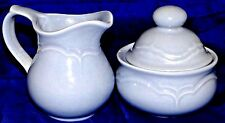 "Pfaltzgraff Lidded Cream & Sugar Model "" Blue Medley "" Powder Blue Discontinued"