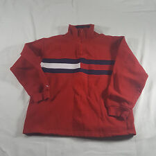Tommy Hilfiger Womens SMALL Red Flag logo 1/4 zip Pullover Sweatshirt VTG 2001