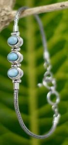 Handmade Genuine .925 Sterling Silver Bali Tulang Naga Rope Bracelet w 3x Gems.
