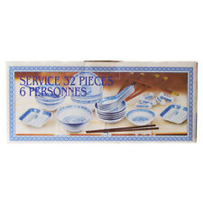 32 PIECE CHINESE BLUE RICE PATTERN CERAMIC DINNERWARE SET