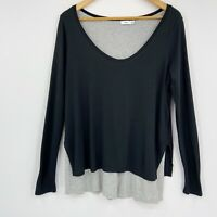 Vince Womens Long Sleeve Double Layer Colorblock Tee Black Heathered Gray Sz S