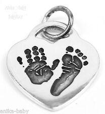 Solid Sterling Silver Heart Pendant Personalised Handprint Footprint Fingerprint