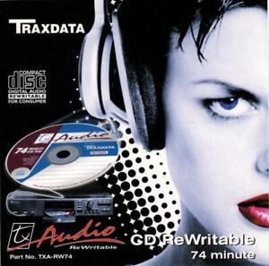 Traxdata CD-RW74 / TXA-RW74 Audio Music 74 Min CDRW RE-WRITABLE Blank Disc - NEW