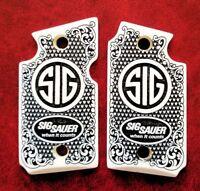 Sig Sauer P938 custom imitation ivory scrimshaw pistol grips Checkered