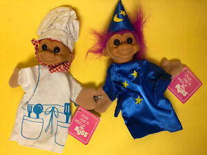 """2 RUSS Luv Pet Troll Doll CHEF &  WIZARD 11"""" Hand Puppet #2279 2278 w/Tags Cute!"""