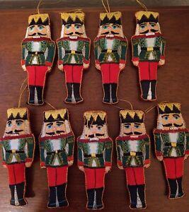 "Lot 9 Christmas Ornaments Nutcracker Guard 5.5 "" Approx Hand Made Sewn Green"