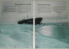 1970 ESSO oil 2 page advertisement, S. S. Manhattan, Ice-breaker Oil tanker test