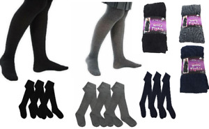 Girls Cotton Rich Soft Winter School Tights Warm Thick Age 2 to 13 Years LOT