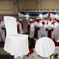 White Spandex Chair Cover Stretch Pleated Ruffled Skirt Style Wedding Party