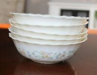 "VTG ARCOPAL France Champetre Floral Scallop 6 3/8"" Soup Cereal Salad Bowls x5"